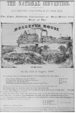 A very aged flyer showing Bellevue House. Text is hard to read except for the words Bellevue House and a building.